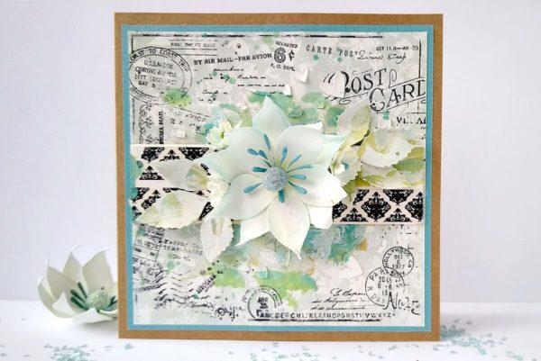Kartka z kwiatkami z foamiranu