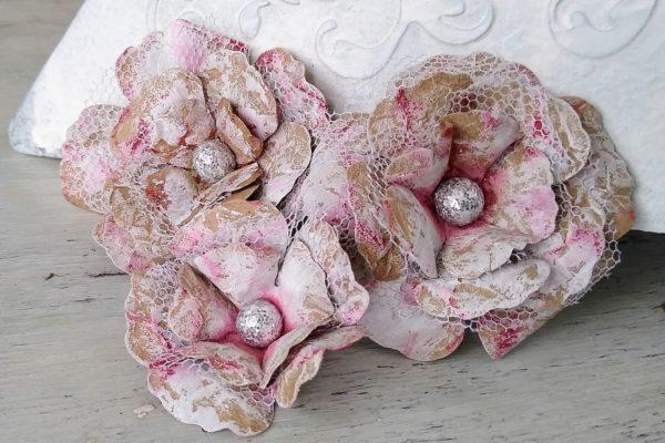 kwiatki shabby chic z papieru