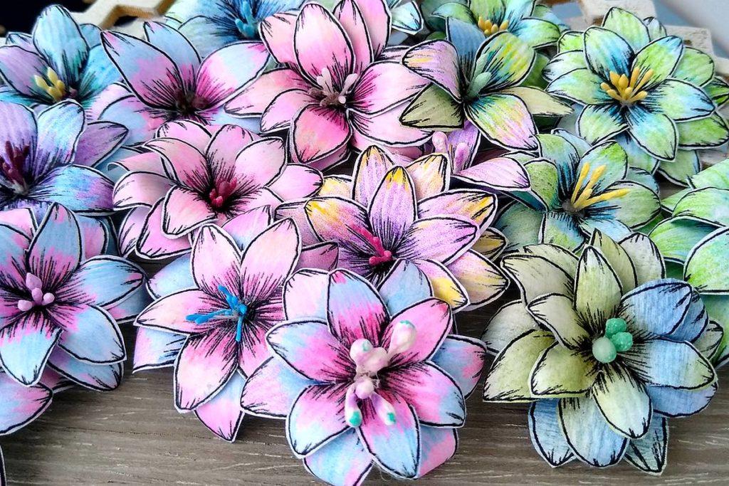kwiatki digitalki kolorowe handmade