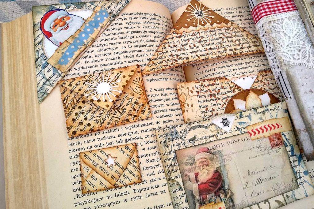 narożnik i koperta w junk journalu
